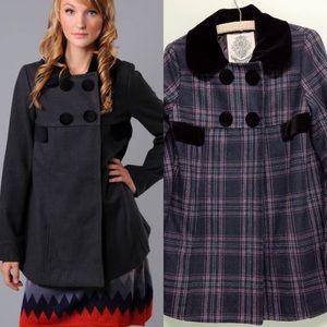 Anthro BB Dakota Wool Blend Alameda Check Coat